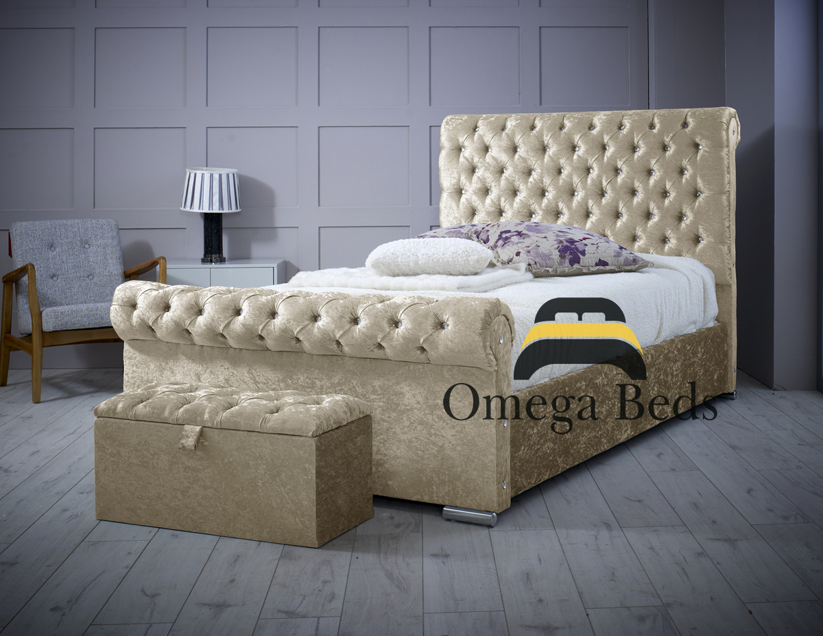 Chesterfield Upholstered Luxury Sleigh Bed Omega Beds